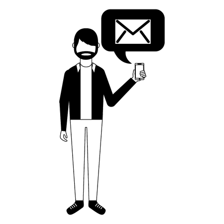 beard man holding smartphone with email vector illustration 向量圖像