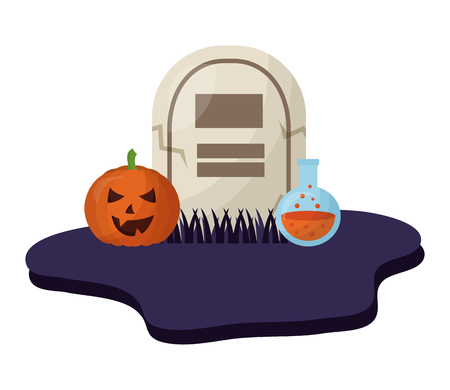 halloween tomb with pumpkin and poison isolated icon vector illustration design