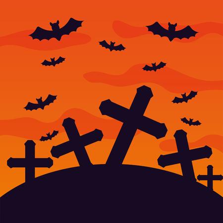 halloween cemetery with bats flying scene vector illustration design Illustration