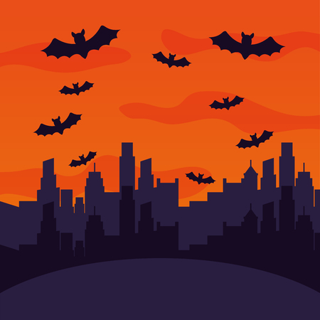 halloween city with bats flying scene vector illustration design
