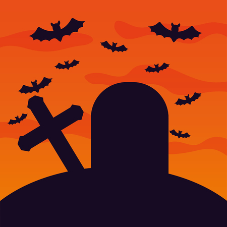 halloween cemetery with bats flying scene vector illustration design 일러스트