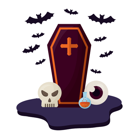 halloween coffin with set icons vector illustration design Standard-Bild - 109824444