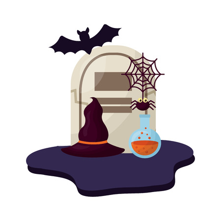 halloween tomb with hat of witch and set icons vector illustration design