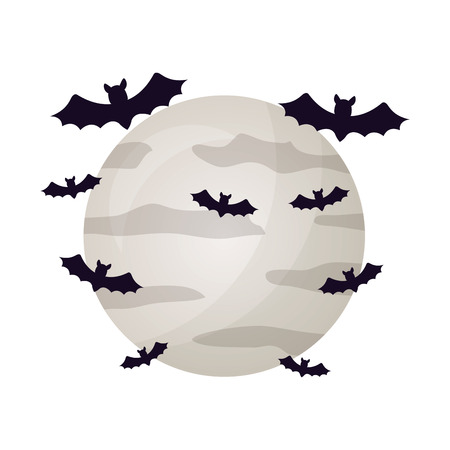 halloween moon with bats isolated icon vector illustration design