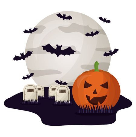 halloween tombs with moon and set icons vector illustration design