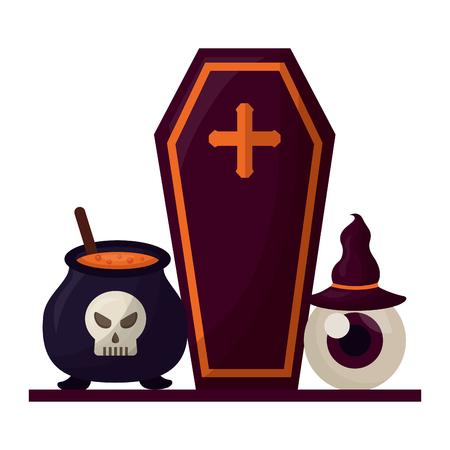 halloween coffin with set icons vector illustration design Illusztráció