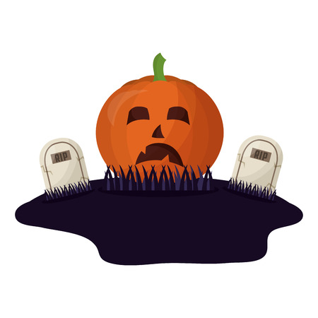 halloween pumpkin and tombs isolated icon vector illustration design