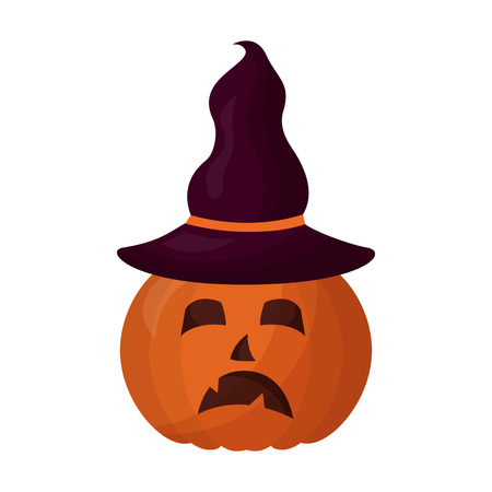 halloween pumpkin with hat witch isolated icon vector illustration design