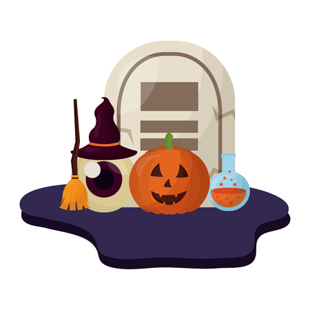 halloween tomb and set icons vector illustration design