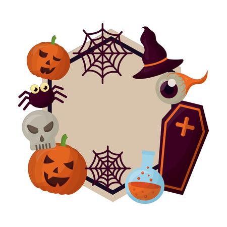 happy halloween circular frame vector illustration design