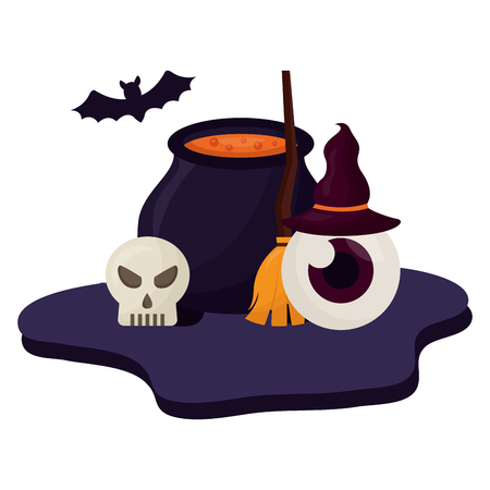 halloween cauldron with set icons vector illustration design