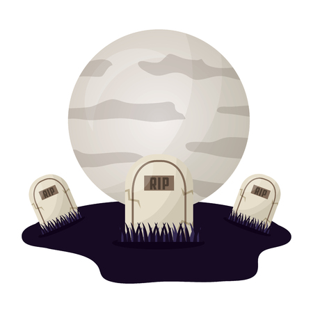 halloween tombs with moon isolated icon vector illustration design