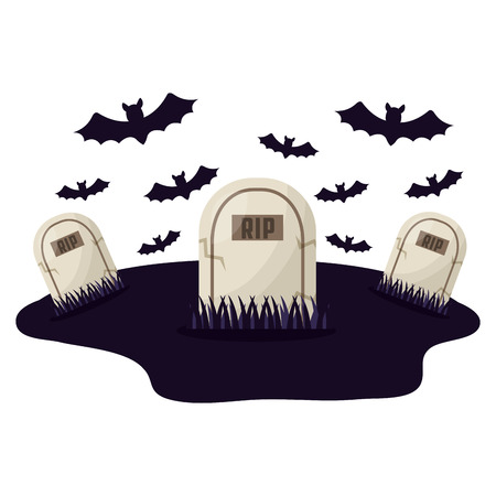 halloween tombs with bats isolated icon vector illustration design Çizim