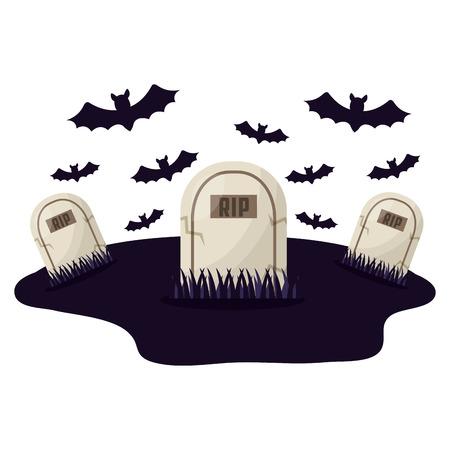 Tombe di Halloween con pipistrelli icona isolato illustrazione vettoriale design Vettoriali