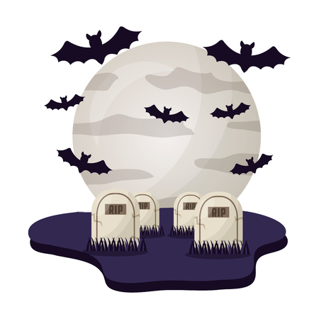 halloween tombs with moon and bats isolated icon vector illustration design