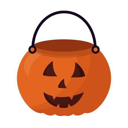 Cesta de calabaza de Halloween, diseño de ilustraciones vectoriales icono aislado Ilustración de vector
