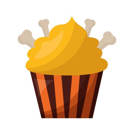 halloween sweet cupcake with bones isolated icon vector illustration design