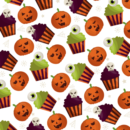 happy halloween icons pattern vector illustration design Archivio Fotografico - 108568151