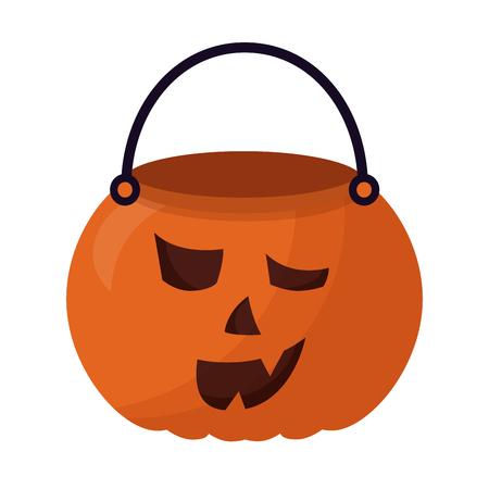 basket halloween pumpkin isolated icon vector illustration design