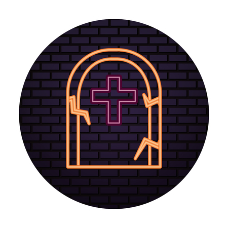 halloween tomb of neon light isolated icon vector illustration design