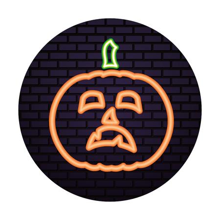 halloween pumpkin neon light isolated icon vector illustration design