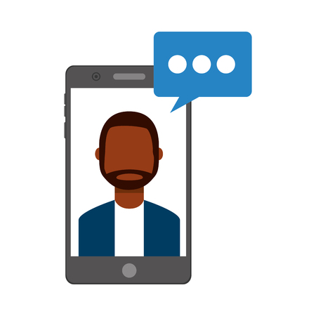 smartphone with man and speech bubble vector illustration design