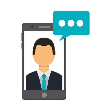 smartphone with businessman and speech bubble vector illustration design