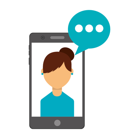 smartphone with woman and speech bubble vector illustration design