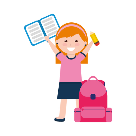 little girl student with school bag and notebook vector illustration design 일러스트