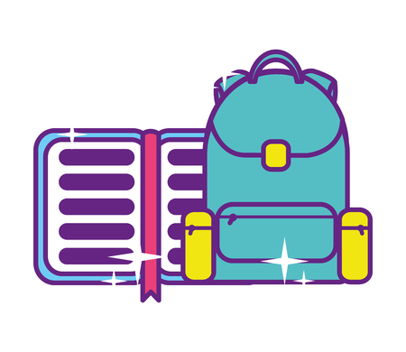bag school with notebook isolated icon vector illustration design