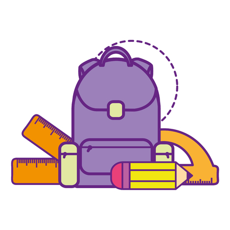 bag school with pencil and rules isolated icon vector illustration design