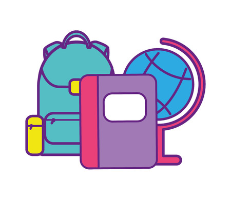 bag school with notebook and globe vector illustration design