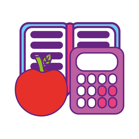 calculator math with apple and notebook vector illustration design Ilustracja