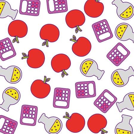 calculator math with apple fruit and tube test pattern vector illustration design Illustration