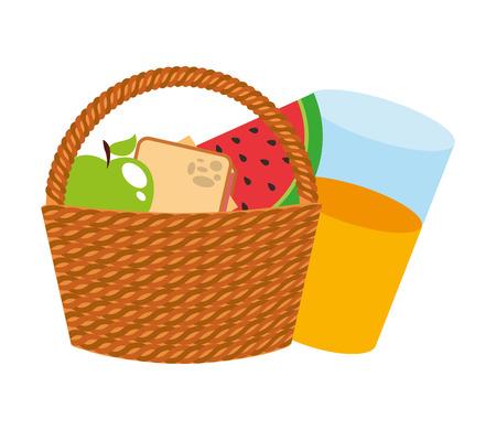 Panier pique-nique avec fruits et jus icône isolé illustration vectorielle