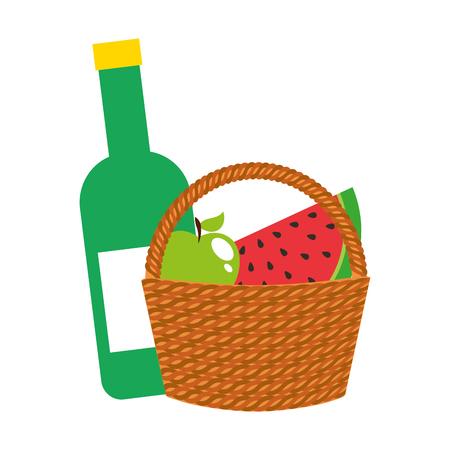 basket picnic with fruits and bottle wine vector illustration design Illustration
