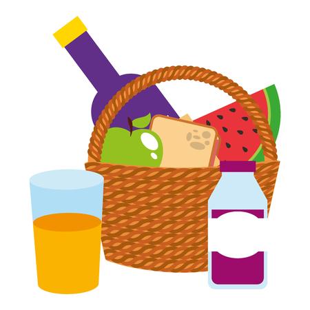 Cesta de picnic con frutas y jugos, diseño de ilustraciones vectoriales icono aislado