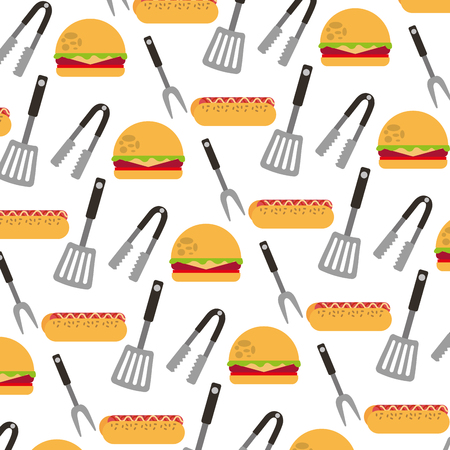 delicious fast food and cutleries pattern vector illustration design Фото со стока - 108569827