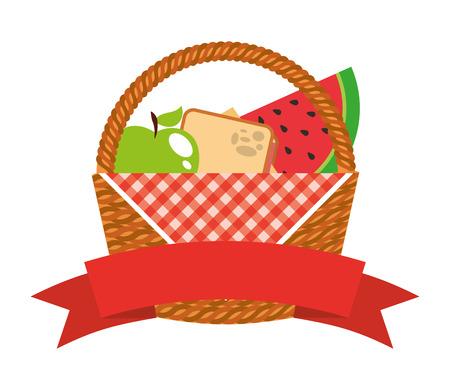 basket picnic with fruits and ribbon vector illustration design