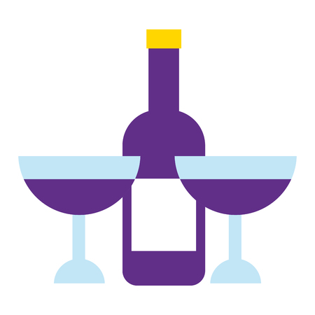 bottle wine with cup isolated icon vector illustration design