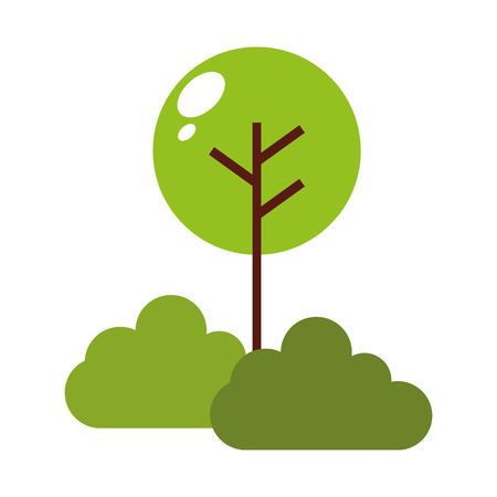 tree plant with bush isolated icon vector illustration design Ilustração