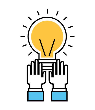 hands with bulb idea creativity business vector illustration