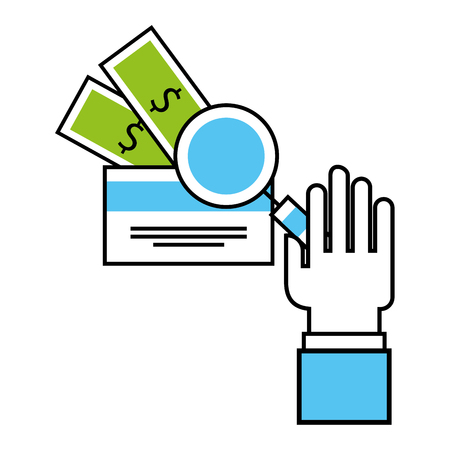 hand holding magnifying glass bank card money business vector illustration