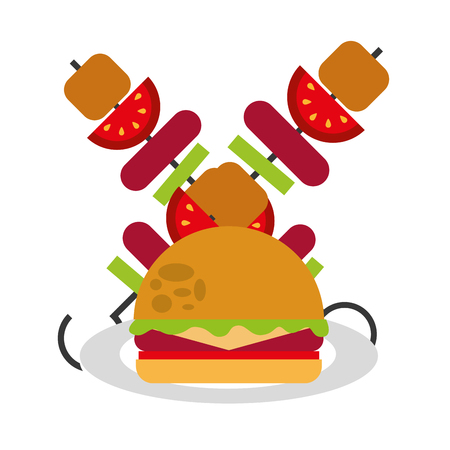 delicious hamburger and meat skewers vector illustration design 일러스트