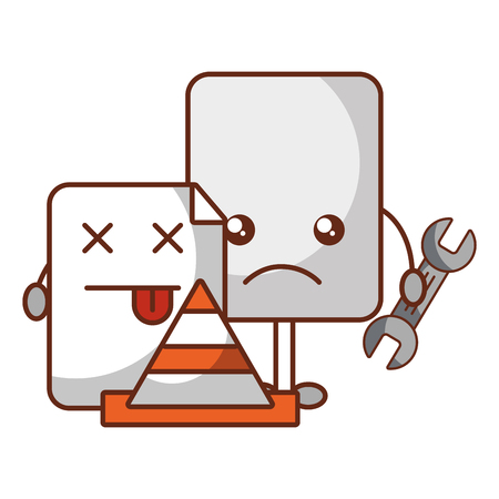 kawaii page repair support tool cone error vector illustration