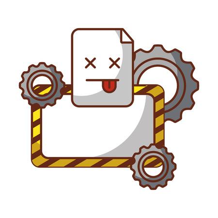 scheda vuota ingranaggi tecnologia sito Web errore illustrazione vettoriale Vettoriali