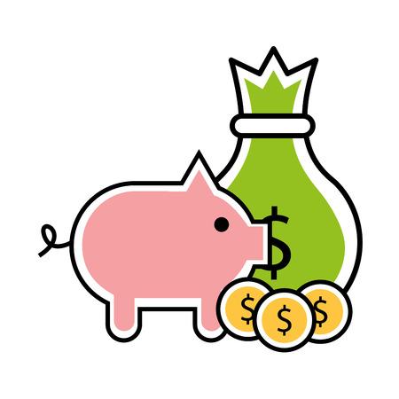 Sac et piggy argent icône isolé vector illustration design Vecteurs