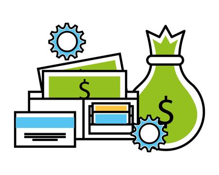 business money bag wallet banknote vector illustration