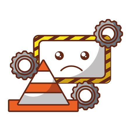 kawaii panneau d'avertissement cône engrenages erreur système illustration vectorielle