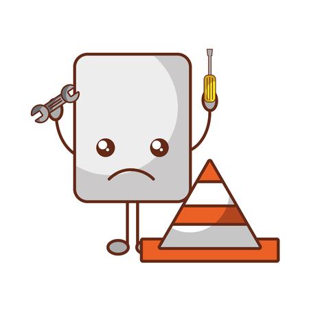 Ilustración de vector de cono de reparación de herramientas de error de sitio web kawaii